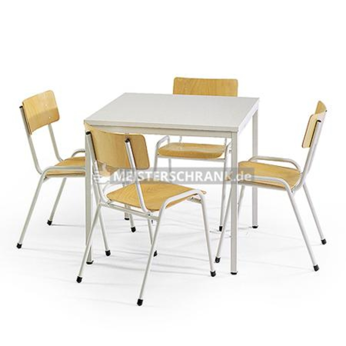 tisch stuhl kombination 1 eckiger tisch 800x800 mm 4 st hle der serie eco lichtgrau. Black Bedroom Furniture Sets. Home Design Ideas